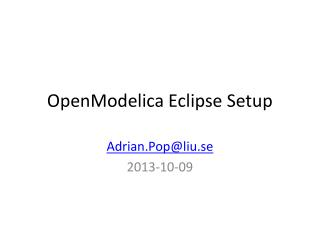 OpenModelica Eclipse Setup