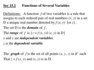 Sec 15.1 	Functions of Several Variables