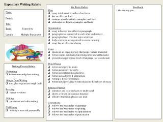 Expository Writing Rubric