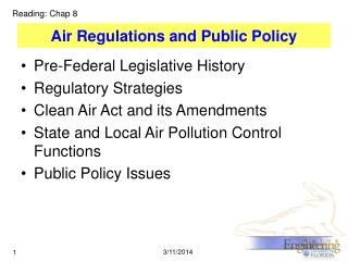 Air Regulations and Public Policy