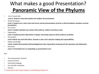 What makes a good Presentation ?  Panoramic View of the  Phylums