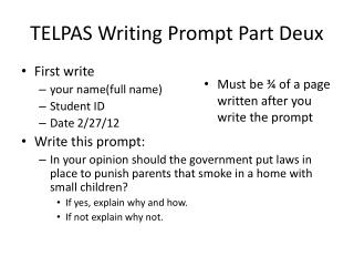 telpas writing prompts Telpas assessment components1 alignment with state curriculum telpas writing, grades k–1.
