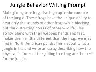 Jungle Behavior Writing Prompt
