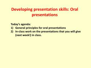 Developing presentation skills: Oral presentations