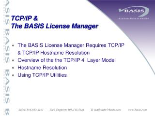 TCP/IP &  The BASIS License Manager