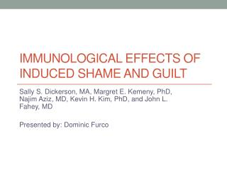 Immunological Effects of Induced Shame and Guilt