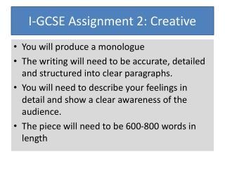 I-GCSE Assignment 2: Creative