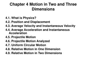 Chapter 4 Motion in Two and Three Dimensions