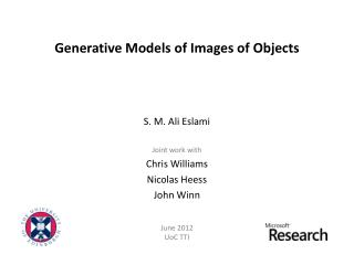 Generative Models of Images of Objects