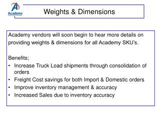 Weights & Dimensions