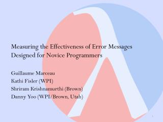 Measuring the Effectiveness of Error Messages Designed for Novice Programmers