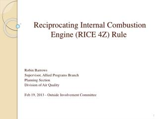 Reciprocating Internal Combustion Engine (RICE 4Z) Rule