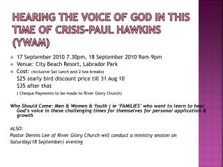 Hearing The Voice of God in This Time of Crisis-Paul Hawkins (YWAM)