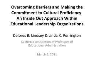 California Association of Professors of Educational Administration March 5, 2011