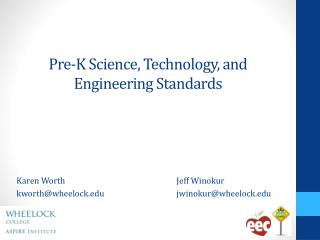 Pre -K Science, Technology, and Engineering  Standards