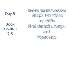 Review parent functions Graph Functions by shifts Find domain, range,  and  intercepts