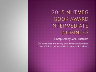 2015 Nutmeg book award intermediate nominees