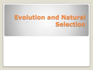 Evolution and Natural Selection