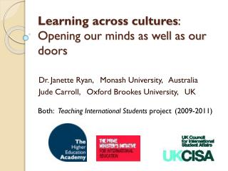 Learning across cultures : Opening our minds as well as our doors