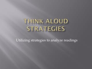 Think aloud Strategies