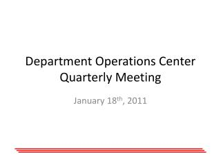Department Operations Center Quarterly Meeting