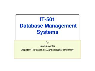 IT-501 Database  Management Systems