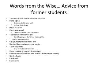 Words from the Wise… Advice from former students