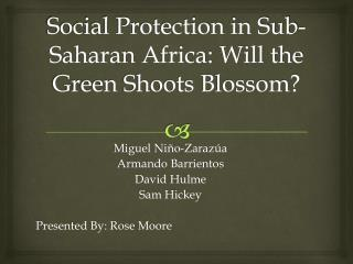 Social Protection in Sub-Saharan Africa: Will the Green Shoots Blossom?