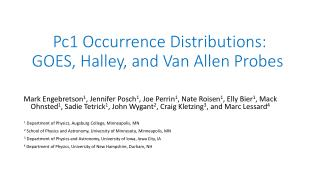 Pc1 Occurrence Distributions:  GOES, Halley, and Van Allen Probes