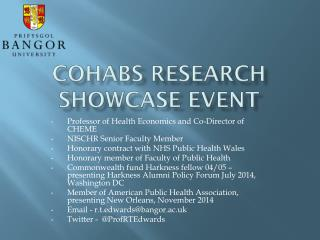 COHaBS  Research SHOWCASE EVENT