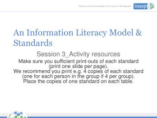 An Information Literacy Model & Standards