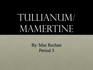 Tullianum/ Mamertine