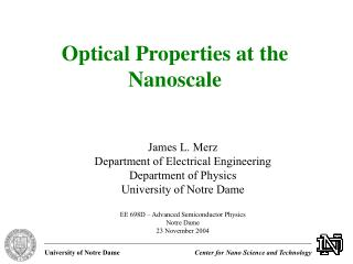 Optical Properties at the Nanoscale