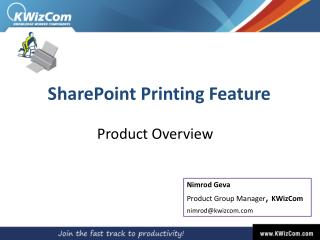 SharePoint  Printing  Feature