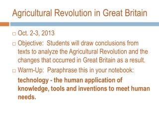 Agricultural Revolution in Great Britain