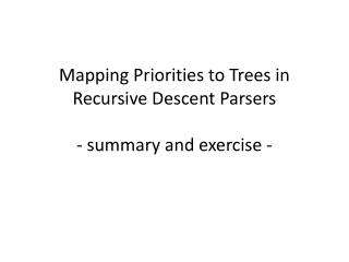 Mapping Priorities to Trees in Recursive Descent Parsers - summary and exercise -
