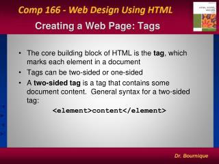 Creating a Web Page: Tags