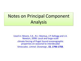 Notes on Principal Component Analysis
