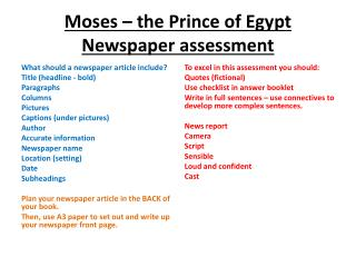 Moses – the Prince of Egypt Newspaper assessment