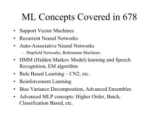 ML Concepts Covered in 678