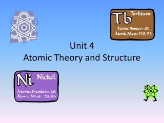 Unit 4 Atomic Theory and Structure