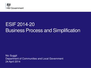 ESIF 2014-20  Business Process and Simplification
