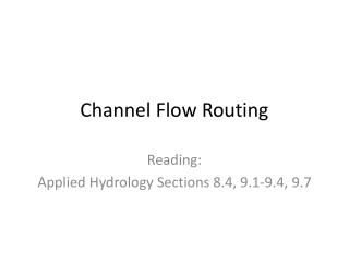 Channel Flow Routing