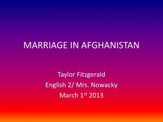 MARRIAGE IN AFGHANISTAN