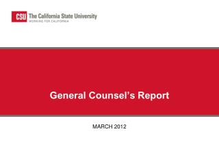 General Counsel's Report