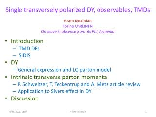 Single transversely polarized DY, observables, TMDs