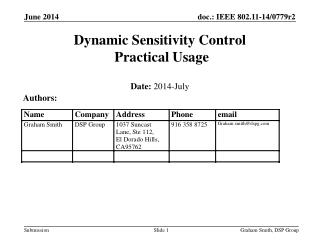 Dynamic Sensitivity Control  Practical Usage