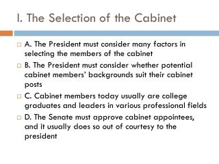 I. The Selection of the Cabinet