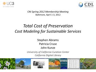 Total Cost of Preservation Cost Modeling for Sustainable Services