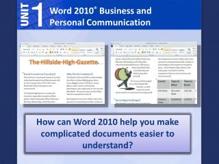 Word 2010 ®  Business and Personal Communication